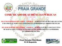 'COMUNICADO DE AUDIÊNCIAS PÚBLICAS'